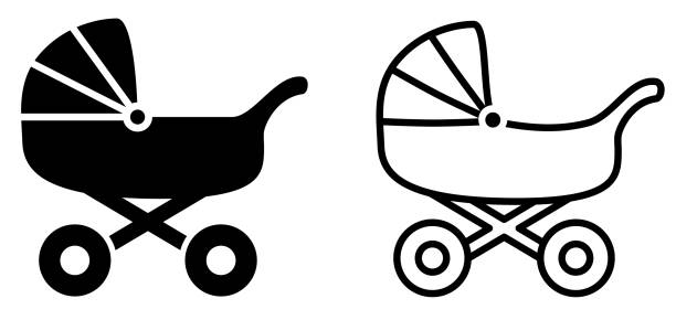 Simple baby carriage icon, black and white version Simple baby carriage icon, black and white version baby carriage stock illustrations