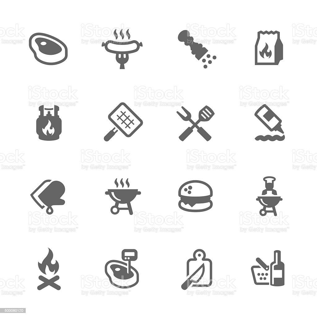 Simple Barbecue Iconsvectorkunst illustratie