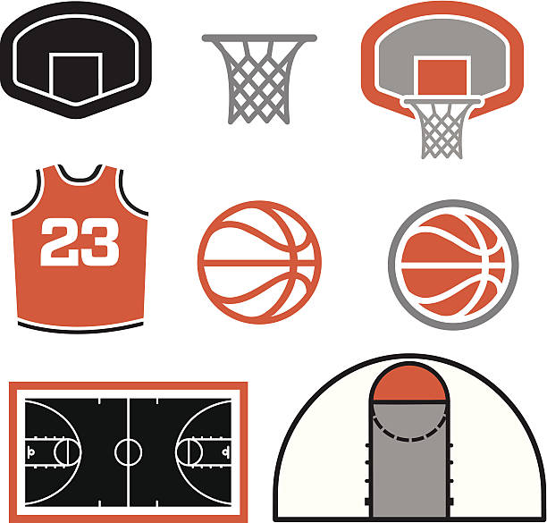 Simple Basketball Vector Elements A group of simple basketball themed vector elements. A court, a ball, a jersey and a basketball basket. basketball hoop stock illustrations