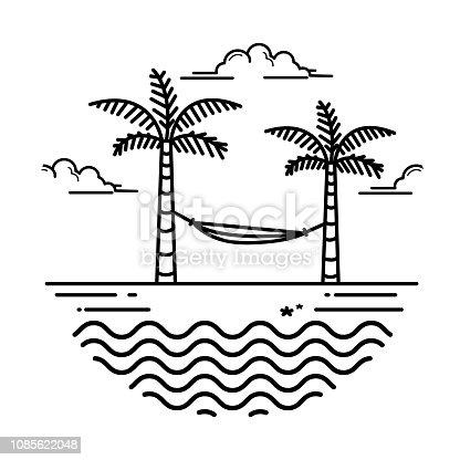 beach design, vector style line art design concept