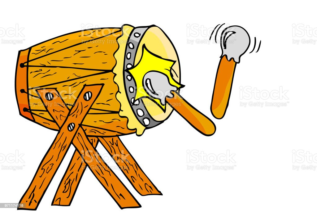 simple Bedug, (indonesia traditional drum) and stick vector art illustration