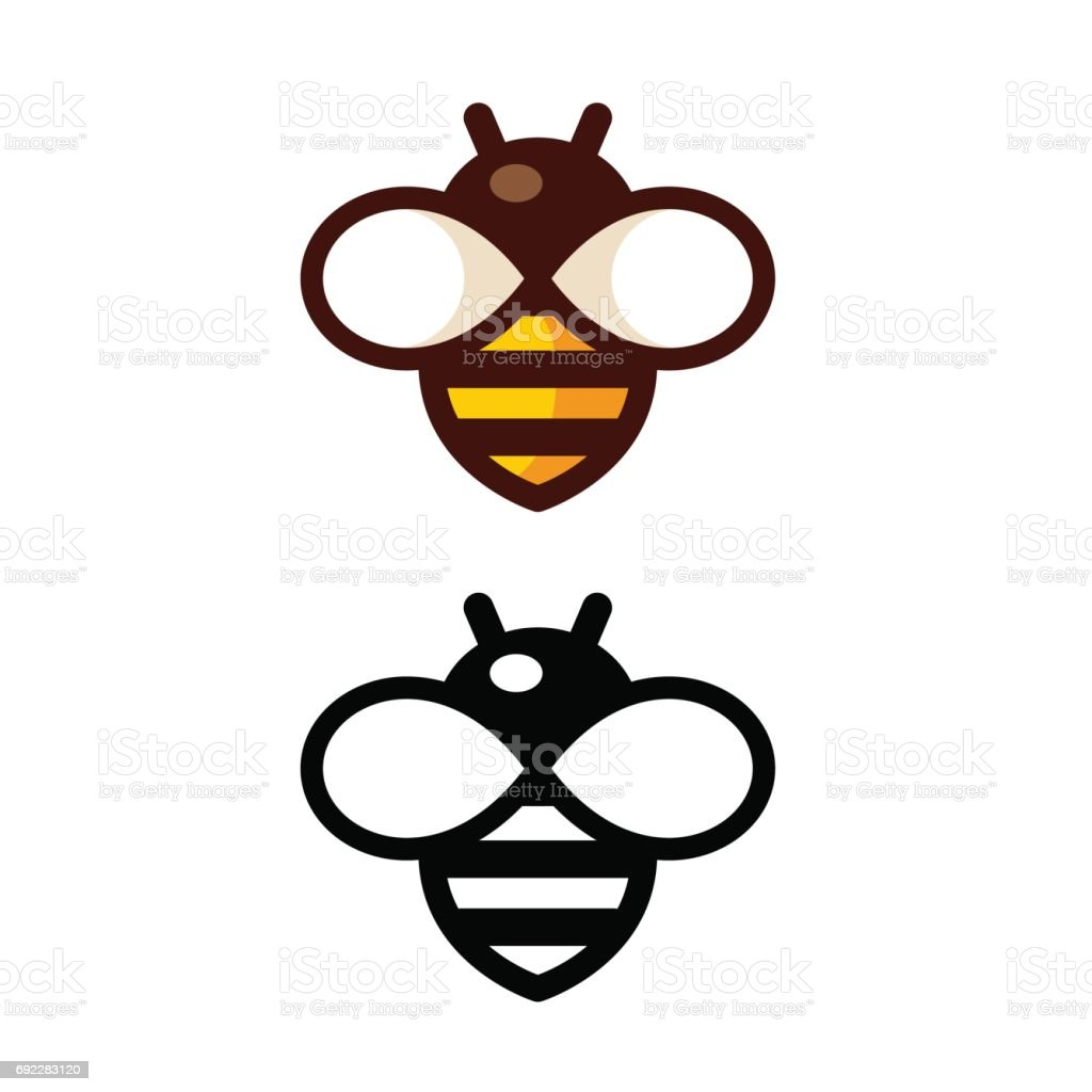 Simple Bee Logo vector art illustration