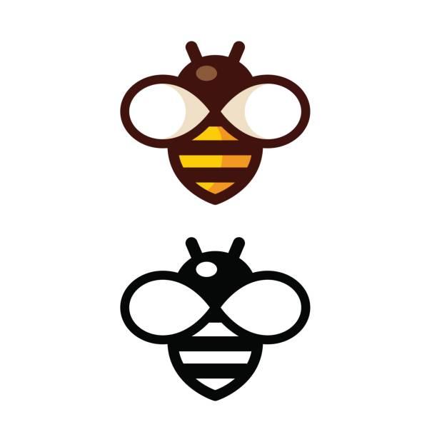 ilustrações, clipart, desenhos animados e ícones de abelha simples logotipo - bee