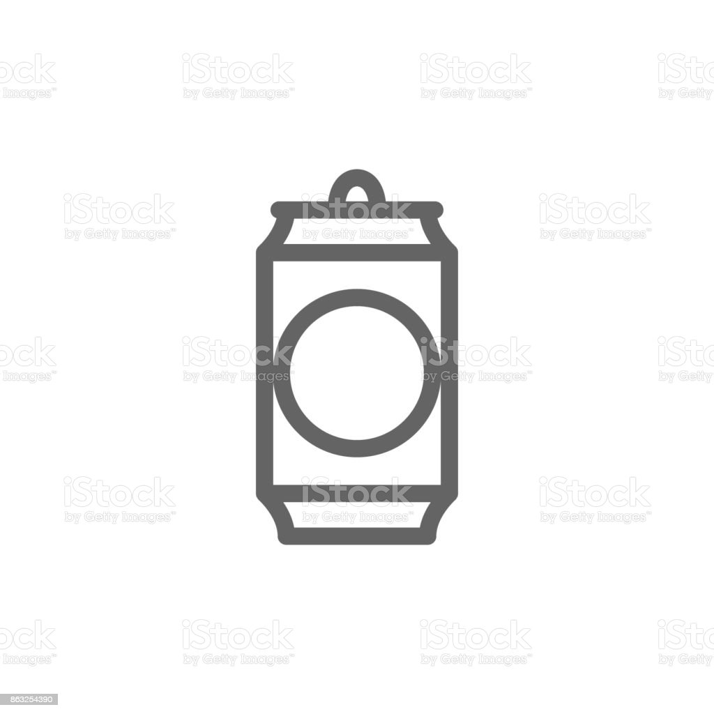 Simple beer can line icon. Symbol and sign vector illustration design. Editable Stroke. Isolated on white background vector art illustration
