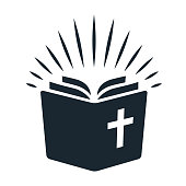 istock Simple Bible icon. Open book with rays of light shining from pages. Religion, church, Bible study concept contemporary style design element isolated on white background 912149646