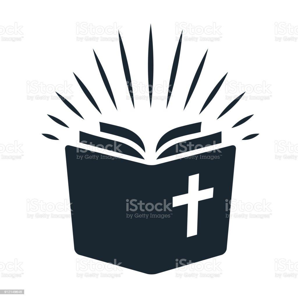 Símbolo simple de la Biblia. Libro abierto con los rayos de luz brillantes de las páginas. Religión, iglesia, Biblia estudio concepto estilo contemporáneo diseño elemento aislado sobre fondo blanco - ilustración de arte vectorial