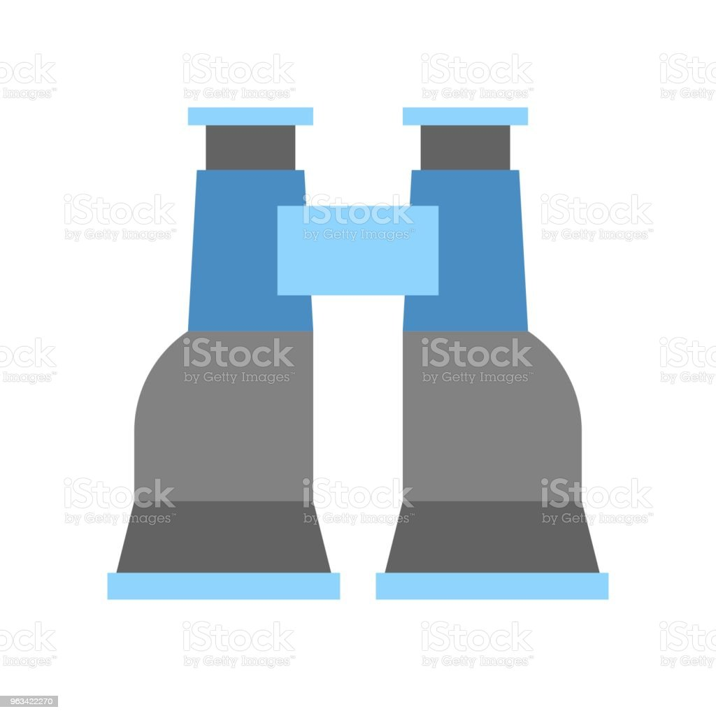 Icône de simples jumelles au design plat vecteur - clipart vectoriel de Carré - Composition libre de droits