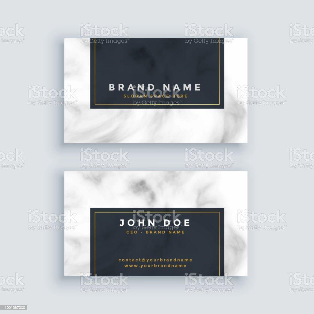 Simple Carte De Visite Noir Et Blanc Avec Texture Marbre