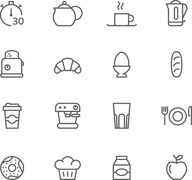 Simple black and white cartoons of breakfast items  vector art illustration
