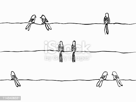 istock simple black and white childish hand drawn continuous line art bird seamless pattern, wallpaper, texture, banner, label, background, vector design. 1143406331