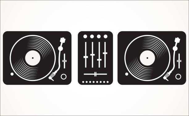 ilustrações, clipart, desenhos animados e ícones de dj preto e branco simples que mistura plataforma giratória definir ilustração vetorial - toca discos