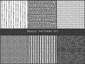 Simple black and white doodle strokes dots and triangles geometric striped seamless patterns set, vector background