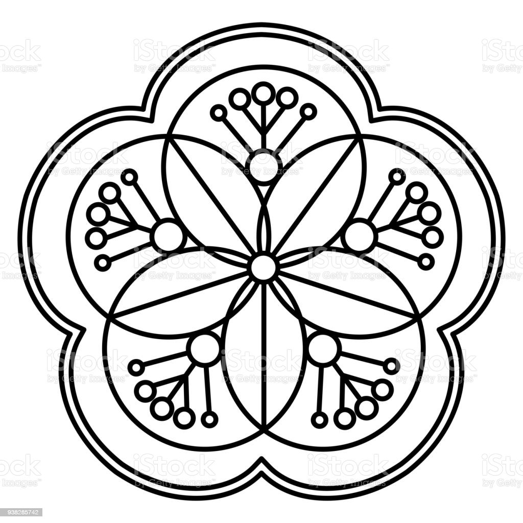 Simple Black And White Floral Mandala Pattern Stock Vector Art