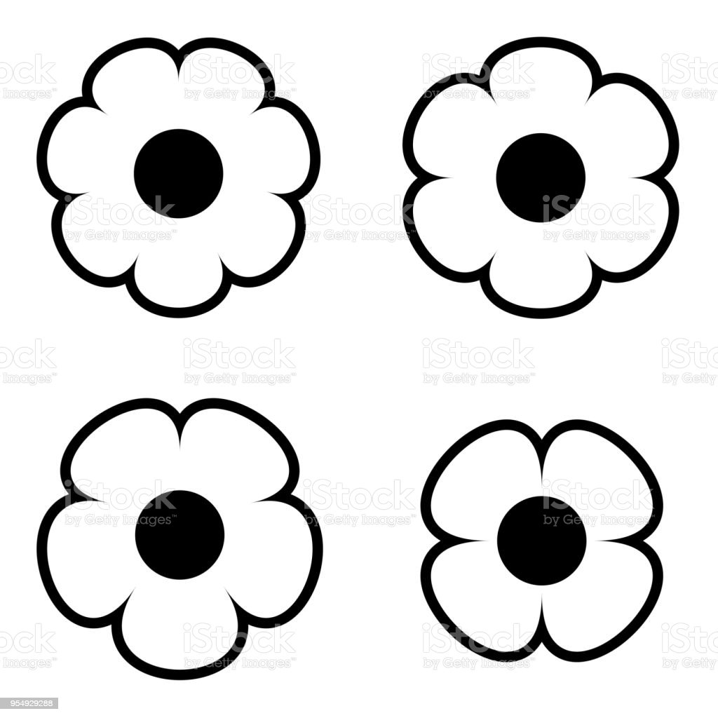Simple Black And White Flower Icon Symbol Logo Set 2 Royalty Free