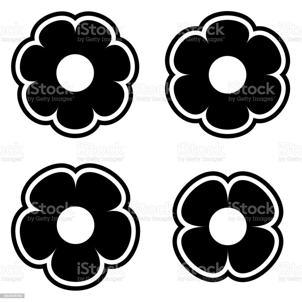 Simple Black And White Flower Icon Symbol Logo Set Stock Vector Art