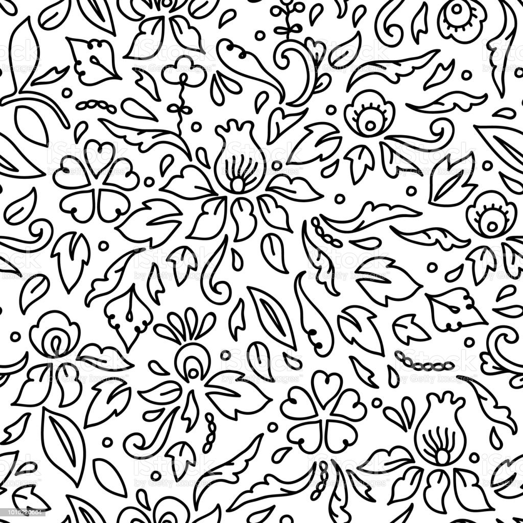 Simple Black And White Flowers Leaves And Swirls Seamless Pattern