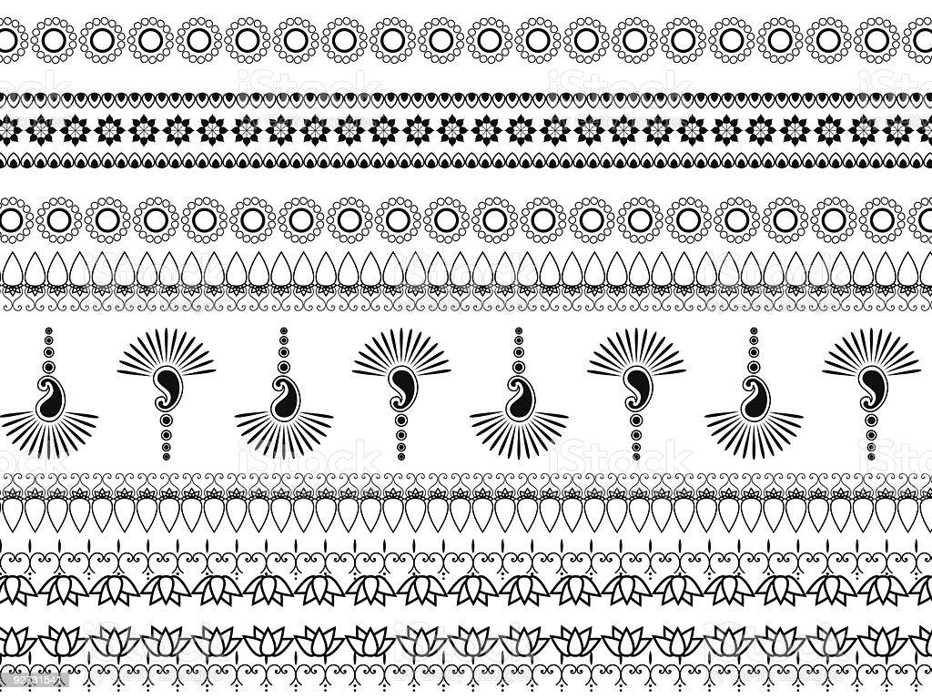 Simple black and white Henna borders vector art illustration