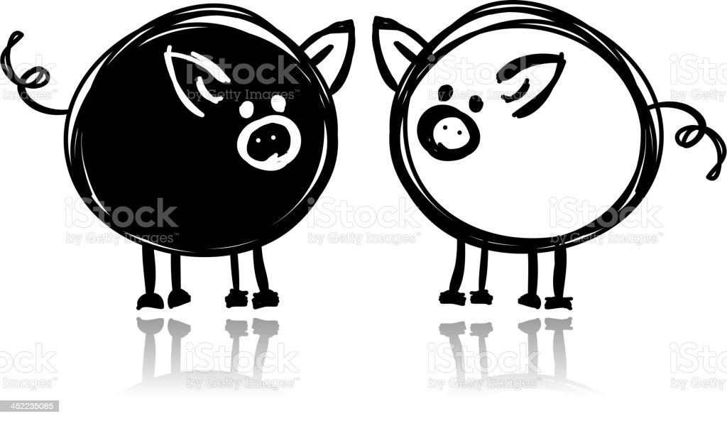 A simple black and white pig design royalty-free stock vector art