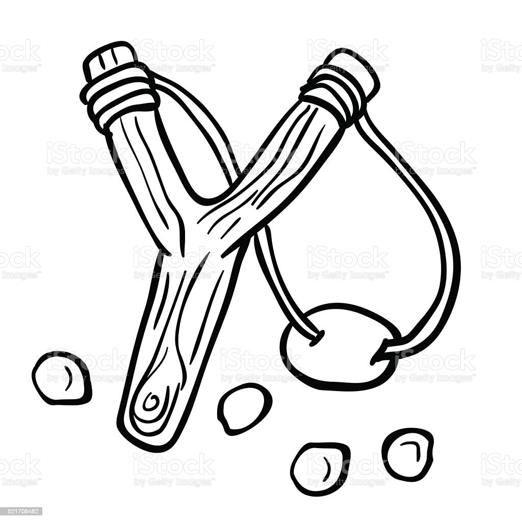 simple black and white slingshot simple black and white slingshot cartoon Aggression stock vector