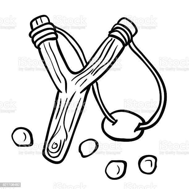 Simple Black And White Slingshot Stock Illustration - Download Image Now