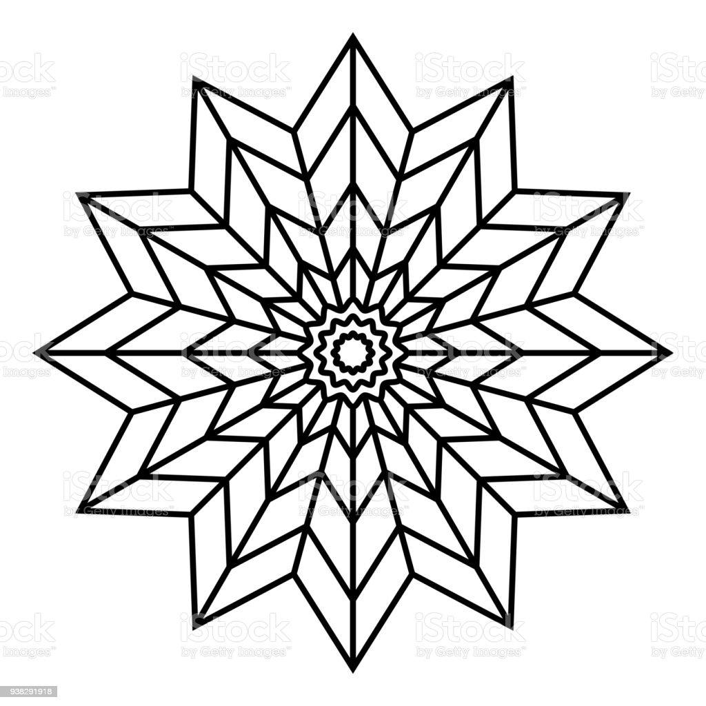 ilustra o de padr o de mandala floral simples forma de estrela preto e branco e mais banco de. Black Bedroom Furniture Sets. Home Design Ideas