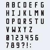 Simple black blocky vector font with numbers