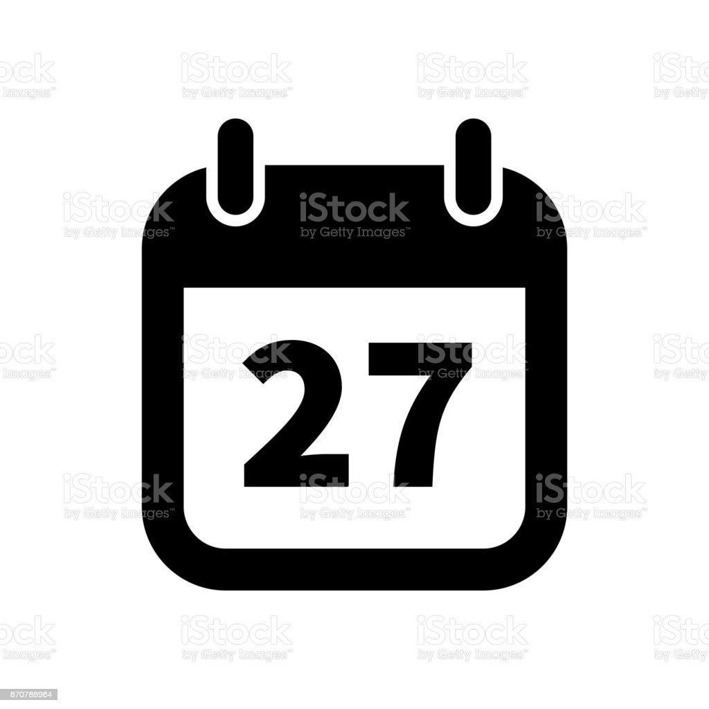 simple black calendar icon with 27 date isolated on white stock rh istockphoto com vector calendar free vector calendar 2017 free download