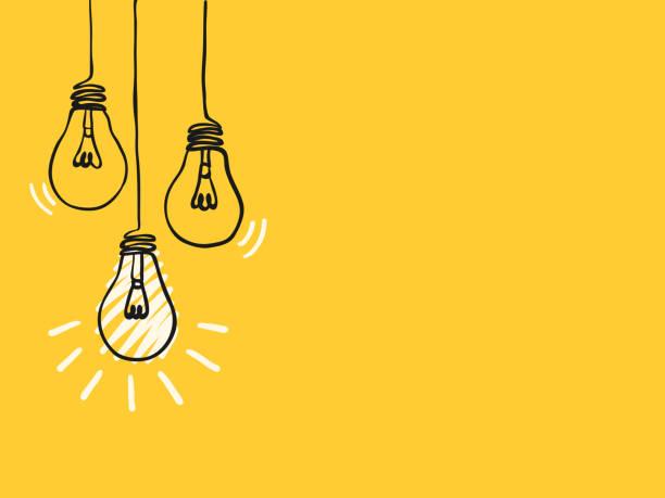 bildbanksillustrationer, clip art samt tecknat material och ikoner med enkel svart barnslig hand ritning linjer glödlampor på gult för bakgrund, textur, tapeter, banner, etikett etc. med kopieringsutrymme. vektordesign. - idé