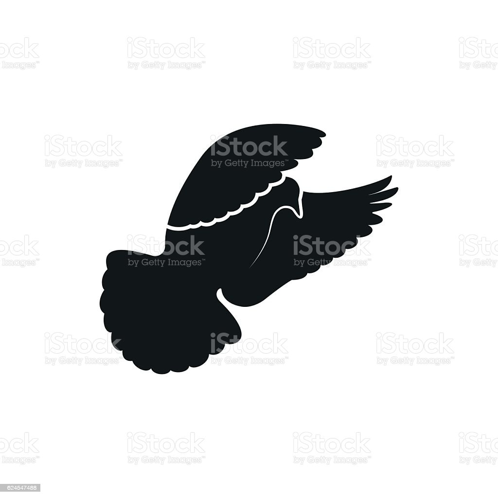 Simple Black Dove Or Pigeon Symbol On A White Background Stock
