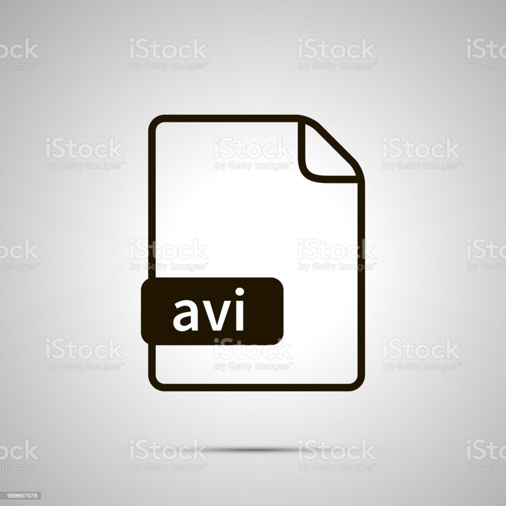 Simple black file icon with AVI extension vector art illustration