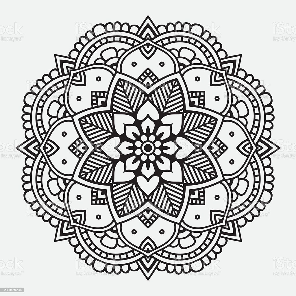 Simple Black Floral Orient Mandala Stock Vector Art Amp More