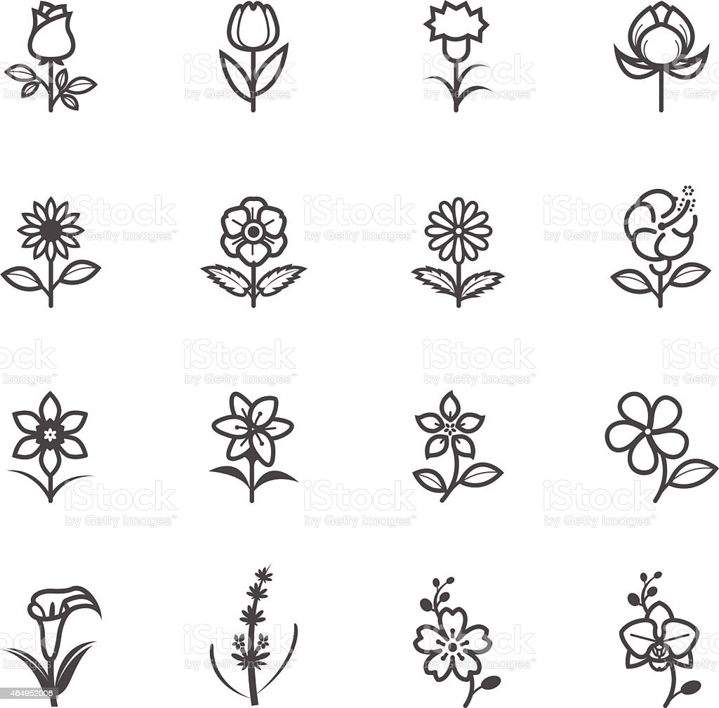Simple Black flower icons on a white background vector art illustration