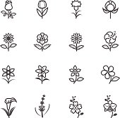 Simple Black flower icons on a white background