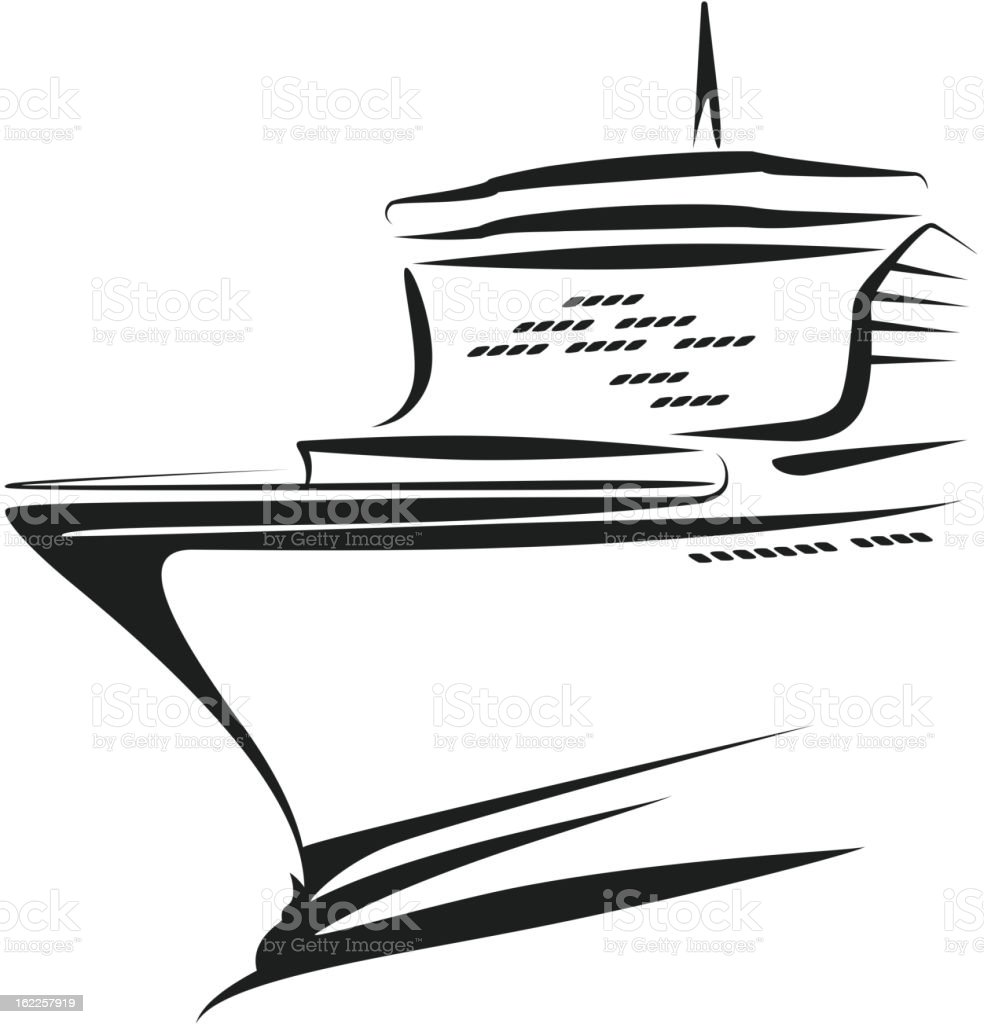 simple black illustration of a ship stock vector art 162257919