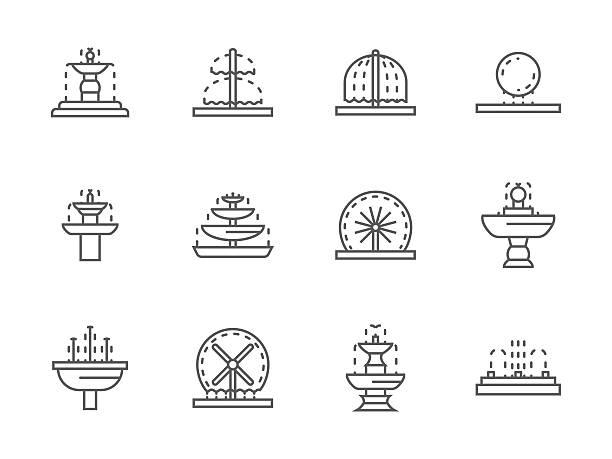 prosta czarna linia ulica fontanny wektorowe ikony - fontanna stock illustrations