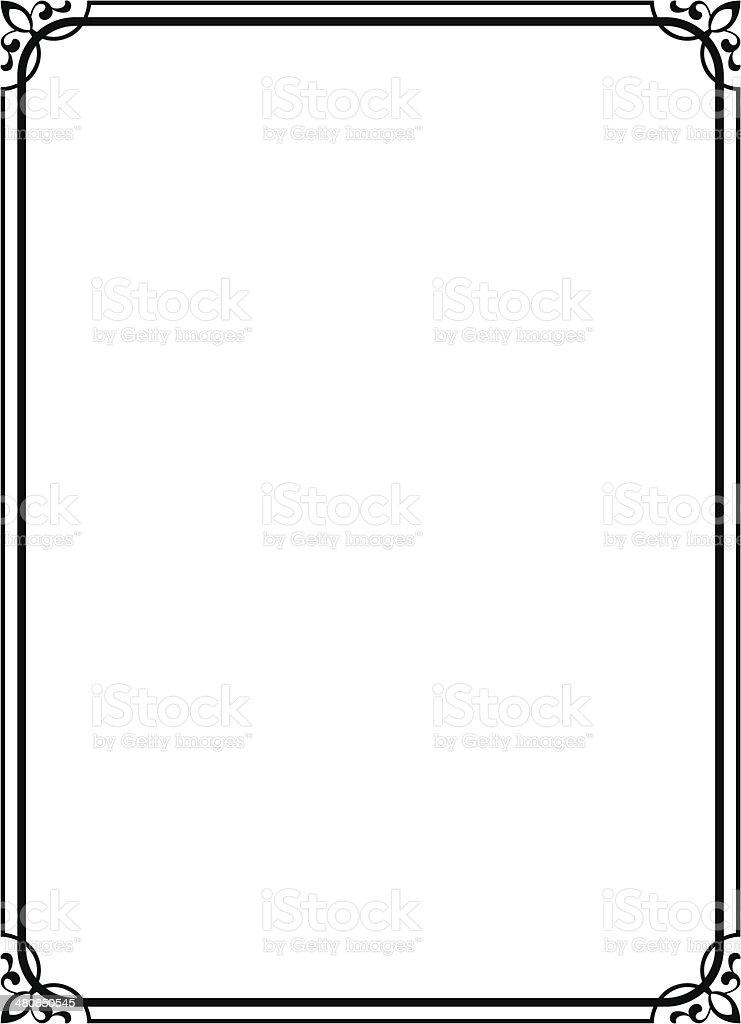 simple black ornamental decorative frame vector art illustration