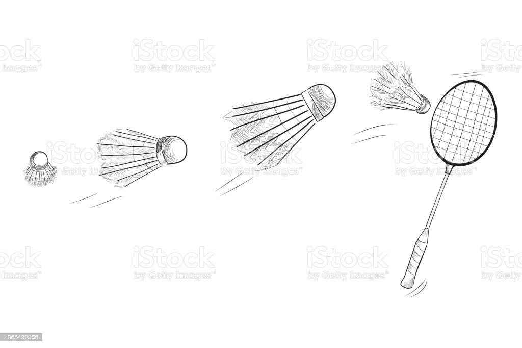 배드민턴 라켓과 셔틀 콕을 이동 하는 빠른의 간단한 블랙 스케치 - 로열티 프리 개체 그룹 벡터 아트