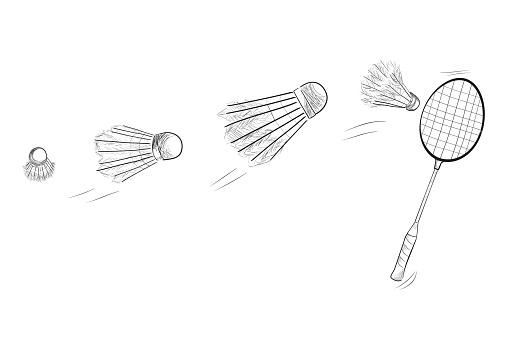 배드민턴 라켓과 셔틀 콕을 이동 하는 빠른의 간단한 블랙 스케치 개체 그룹에 대한 스톡 벡터 아트 및 기타 이미지