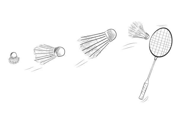 simple black sketch of badminton racket and fast moving shuttlecock - badminton smash stock illustrations