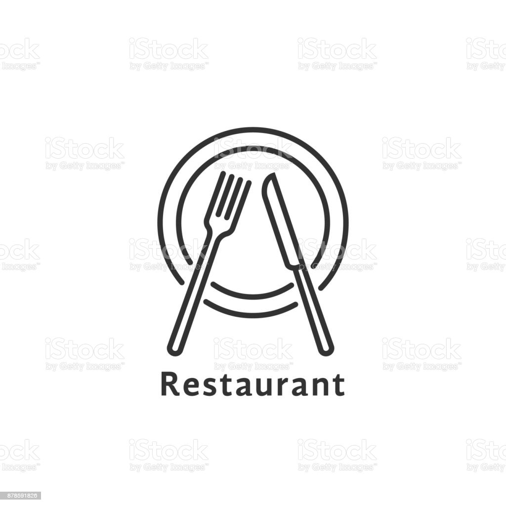 simple black thin line restaurant symbol vector art illustration