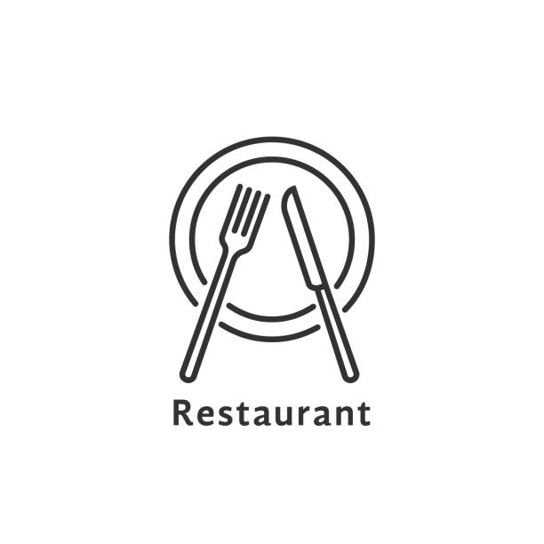 illustrazioni stock, clip art, cartoni animati e icone di tendenza di simple black thin line restaurant symbol - cena