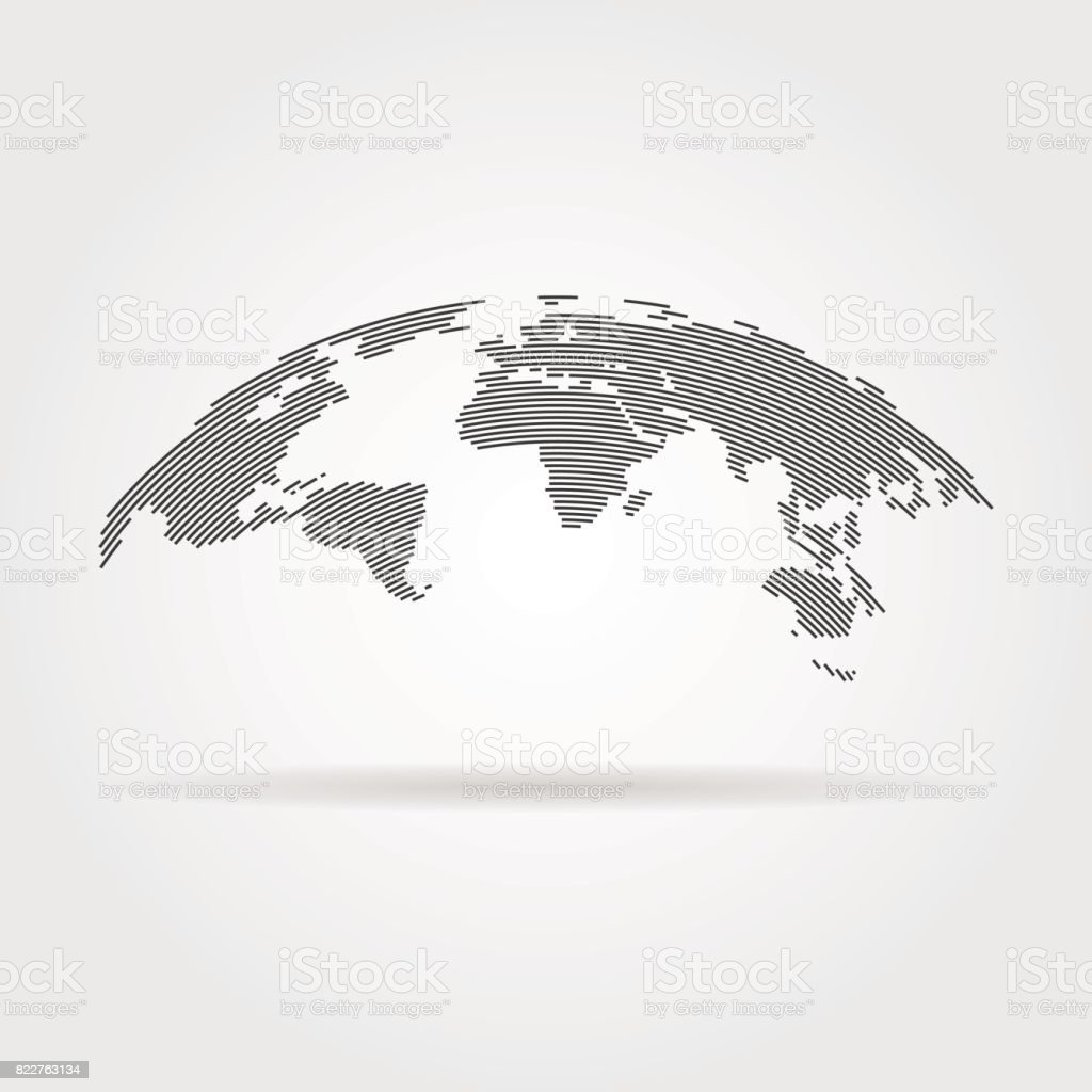 simple black world map from thin line vector art illustration
