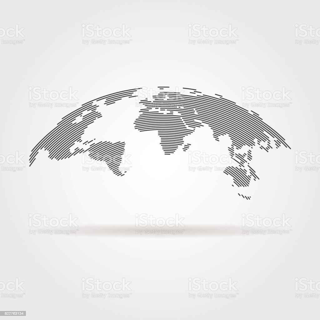 einfache schwarze Weltkarte aus dünne Linie – Vektorgrafik