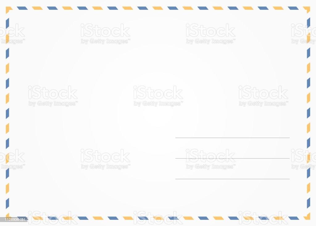 simple blank postcard back illustration for design stock