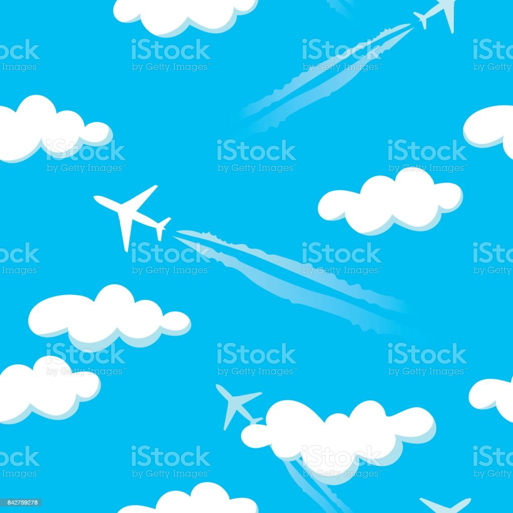 Simple blue cloudy sky airplanes seamless pattern - Royalty-free Aerospace Industry stock vector