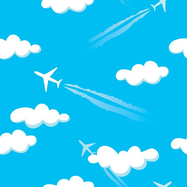Simple blue cloudy sky airplanes seamless pattern vector art illustration