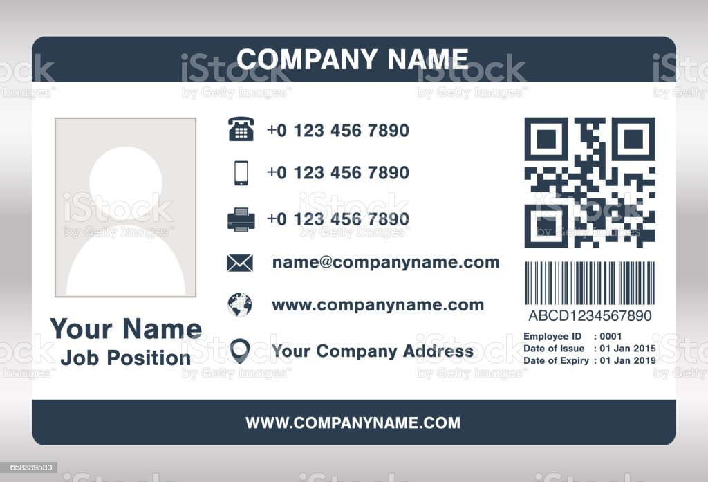 Simple Blue Employee Id Card Template Vector Stock Vector Art More - Card template free: employee id card template