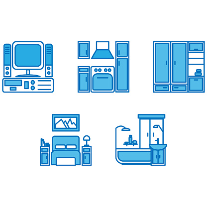 Simple blue home interior icons on a white background
