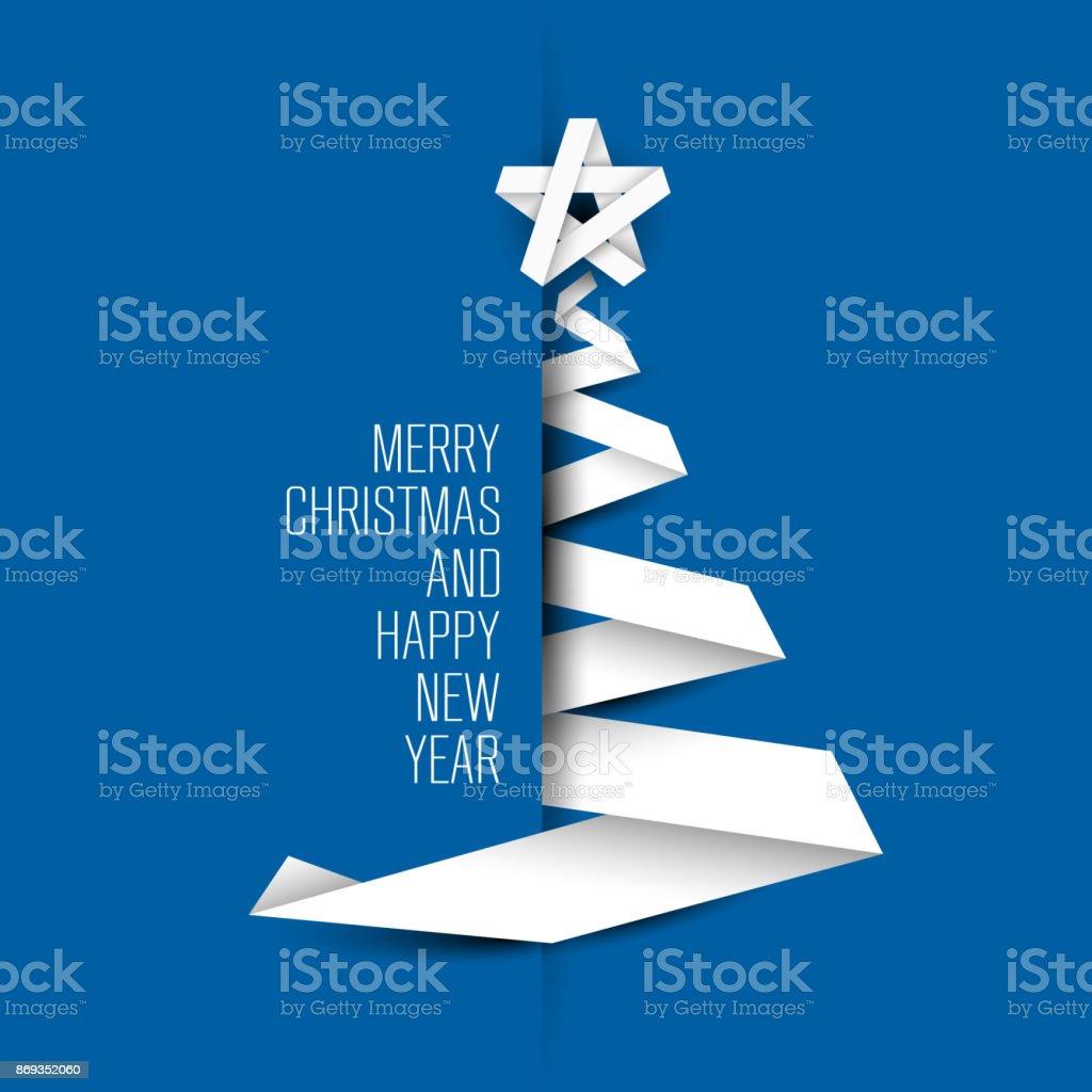 シンプルな青いベクトル カード紙ストライプから作られたクリスマス ツリー ベクターアートイラスト