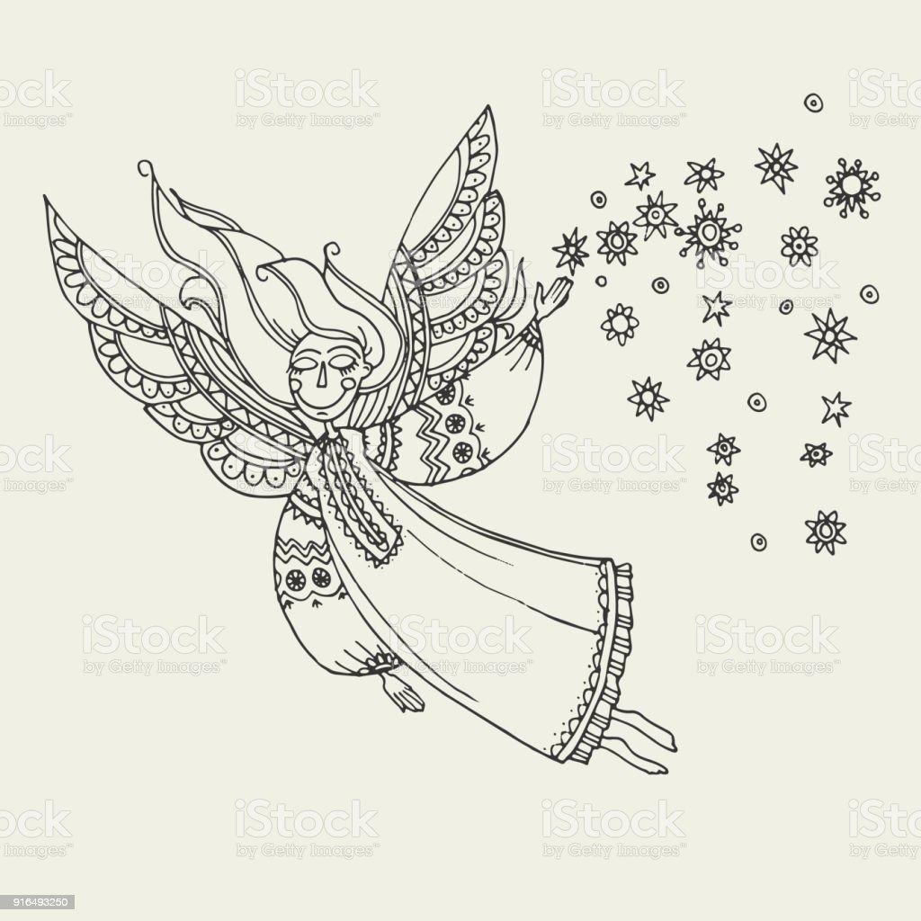 Basit Boho Stil Melekler Fo Boyama Stok Vektör Sanatı Animasyon